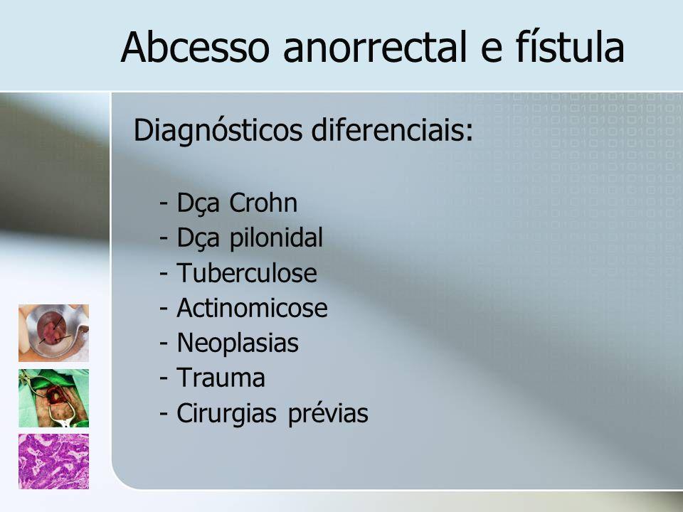 Abcesso anorrectal e fístula Diagnósticos diferenciais: - Dça Crohn - Dça pilonidal - Tuberculose - Actinomicose - Neoplasias - Trauma - Cirurgias pré
