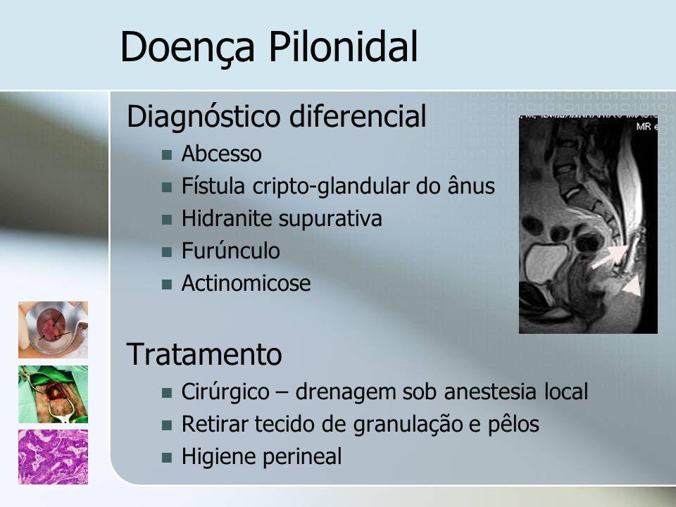 Doença Pilonidal Diagnóstico diferencial Abcesso Fístula cripto-glandular do ânus Hidranite supurativa Furúnculo Actinomicose Tratamento Cirúrgico – d