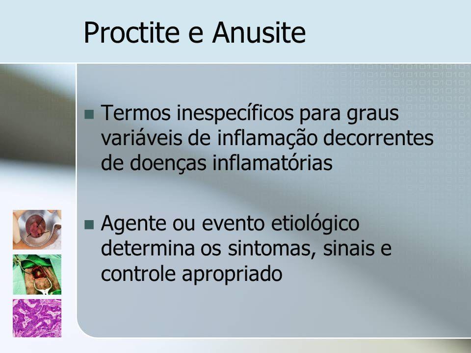 Proctite e Anusite Termos inespecíficos para graus variáveis de inflamação decorrentes de doenças inflamatórias Agente ou evento etiológico determina