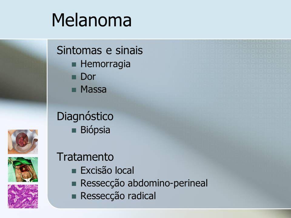 Melanoma Sintomas e sinais Hemorragia Dor Massa Diagnóstico Biópsia Tratamento Excisão local Ressecção abdomino-perineal Ressecção radical