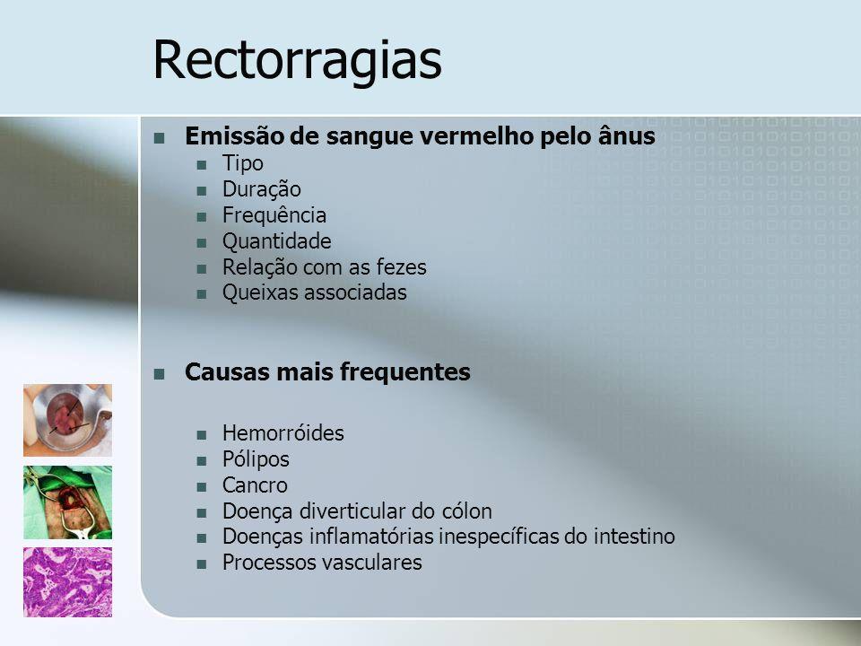 Rectorragias Emissão de sangue vermelho pelo ânus Tipo Duração Frequência Quantidade Relação com as fezes Queixas associadas Causas mais frequentes He