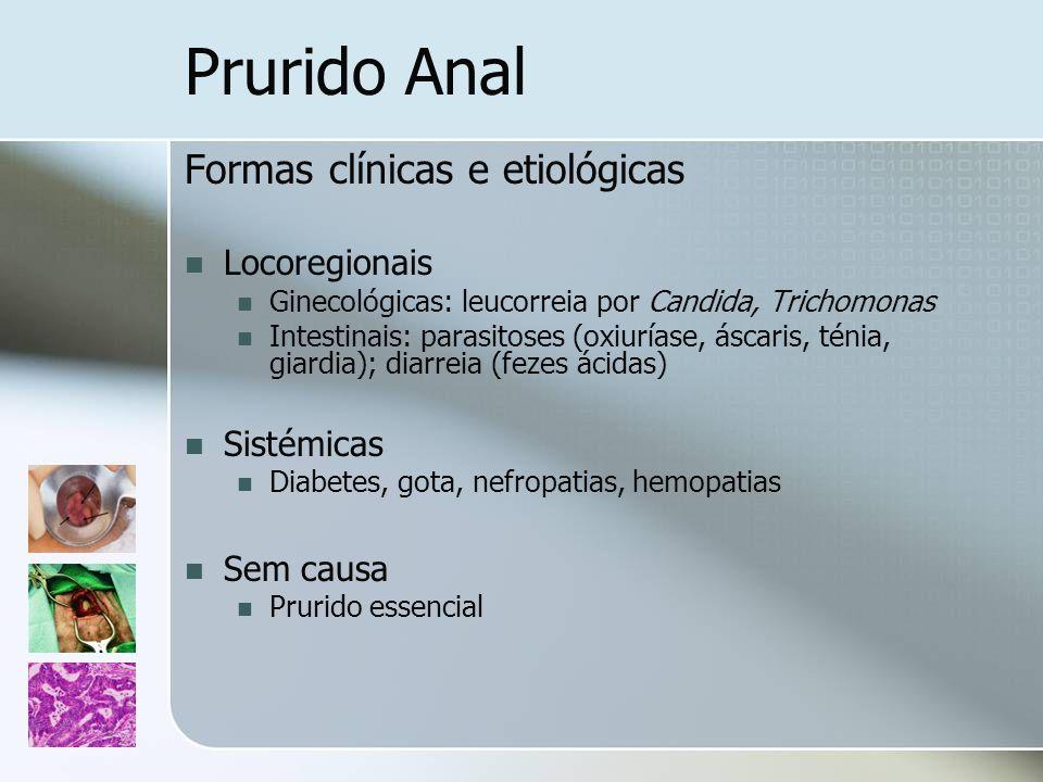 Formas clínicas e etiológicas Locoregionais Ginecológicas: leucorreia por Candida, Trichomonas Intestinais: parasitoses (oxiuríase, áscaris, ténia, gi