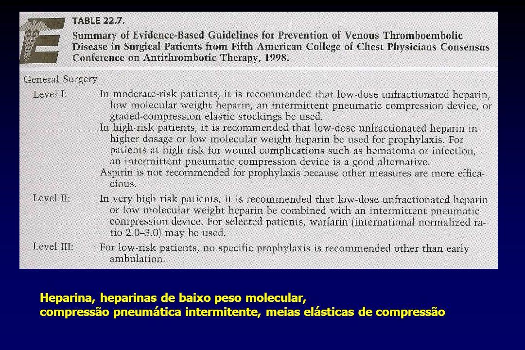 Heparina, heparinas de baixo peso molecular, compressão pneumática intermitente, meias elásticas de compressão
