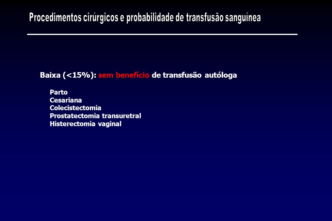 Parto Cesariana Colecistectomia Prostatectomia transuretral Histerectomia vaginal Baixa (<15%): sem benefício de transfusão autóloga