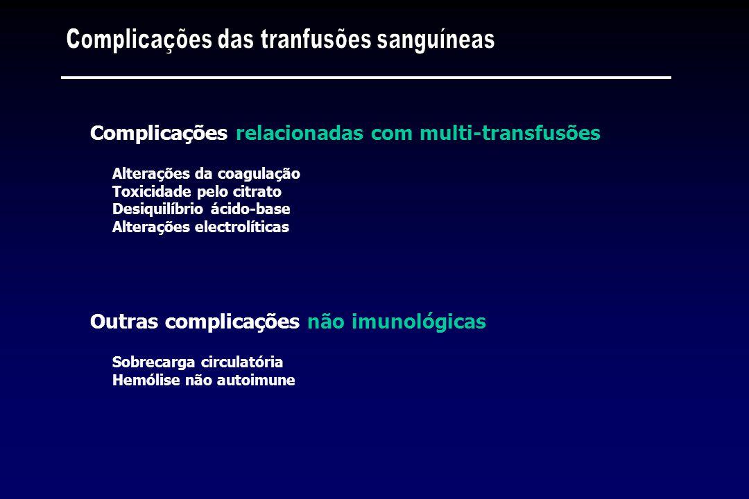 Alterações da coagulação Toxicidade pelo citrato Desiquilíbrio ácido-base Alterações electrolíticas Complicações relacionadas com multi-transfusões So