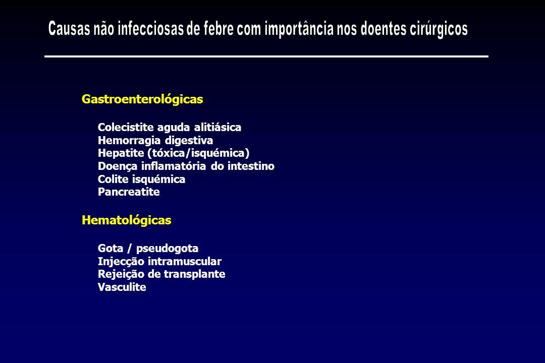 Colecistite aguda alitiásica Hemorragia digestiva Hepatite (tóxica/isquémica) Doença inflamatória do intestino Colite isquémica Pancreatite Gastroente