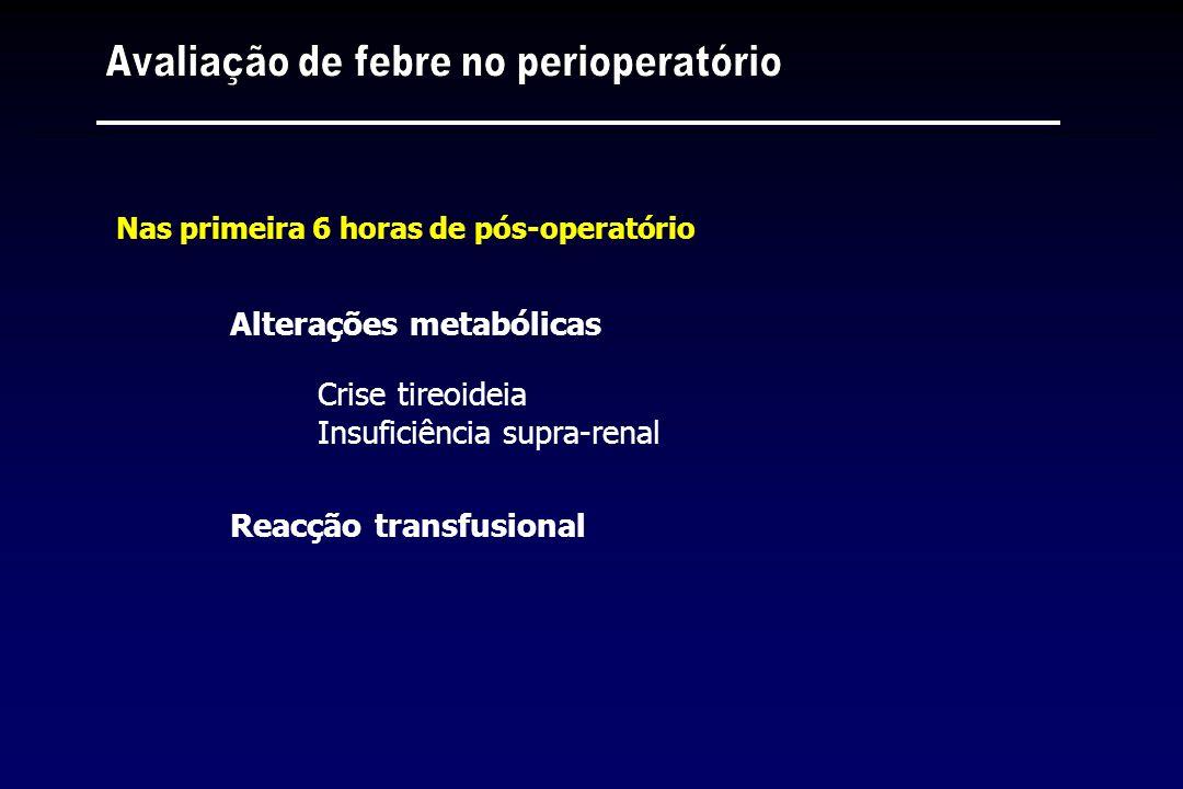Alterações metabólicas Crise tireoideia Insuficiência supra-renal Reacção transfusional Nas primeira 6 horas de pós-operatório