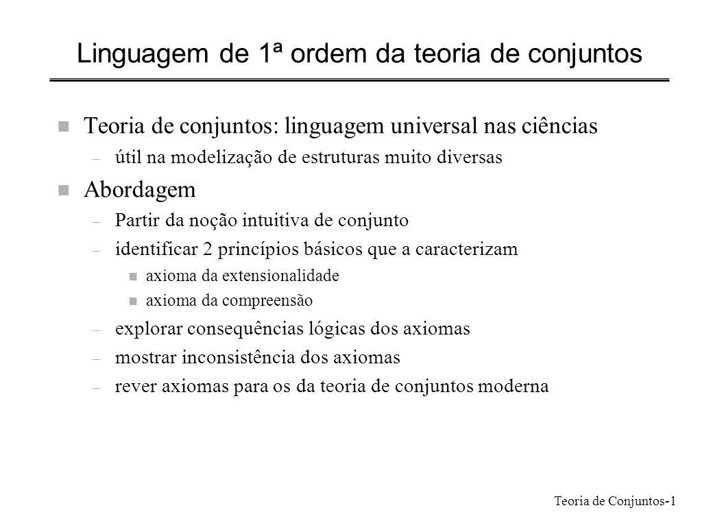 Teoria de Conjuntos-1 Linguagem de 1ª ordem da teoria de conjuntos n Teoria de conjuntos: linguagem universal nas ciências – útil na modelização de es