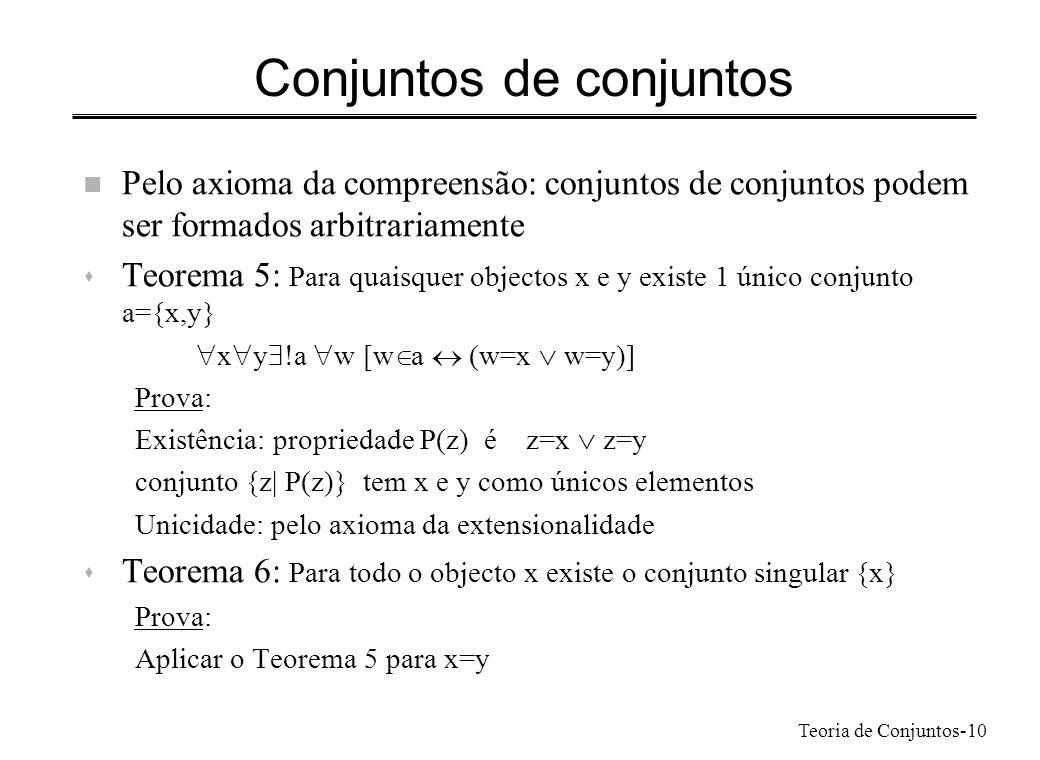 Teoria de Conjuntos-10 Conjuntos de conjuntos n Pelo axioma da compreensão: conjuntos de conjuntos podem ser formados arbitrariamente s Teorema 5: Par