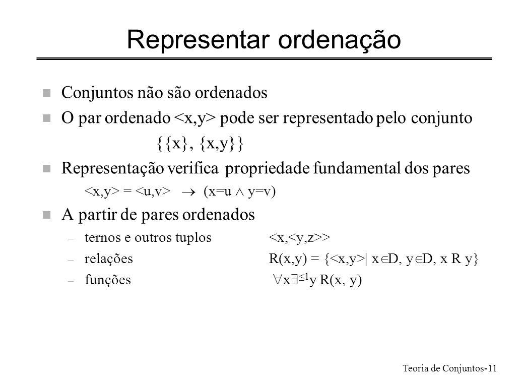 Teoria de Conjuntos-11 Representar ordenação n Conjuntos não são ordenados n O par ordenado pode ser representado pelo conjunto {{x}, {x,y}} n Represe