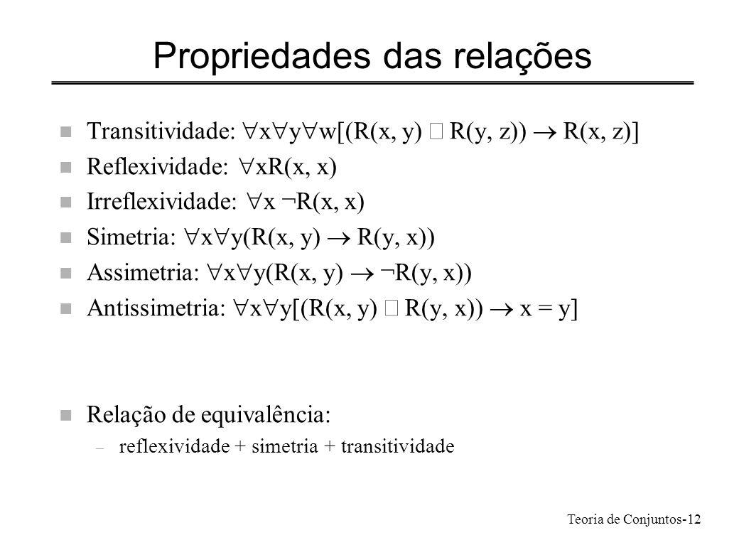 Teoria de Conjuntos-12 Propriedades das relações Transitividade: x y w[(R(x, y) R(y, z)) R(x, z)] Reflexividade: xR(x, x) Irreflexividade: x ¬R(x, x)