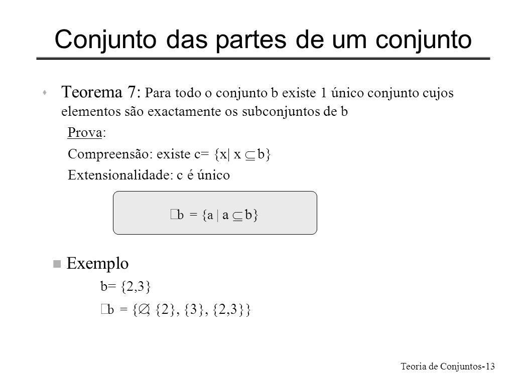 Teoria de Conjuntos-13 Conjunto das partes de um conjunto s Teorema 7: Para todo o conjunto b existe 1 único conjunto cujos elementos são exactamente