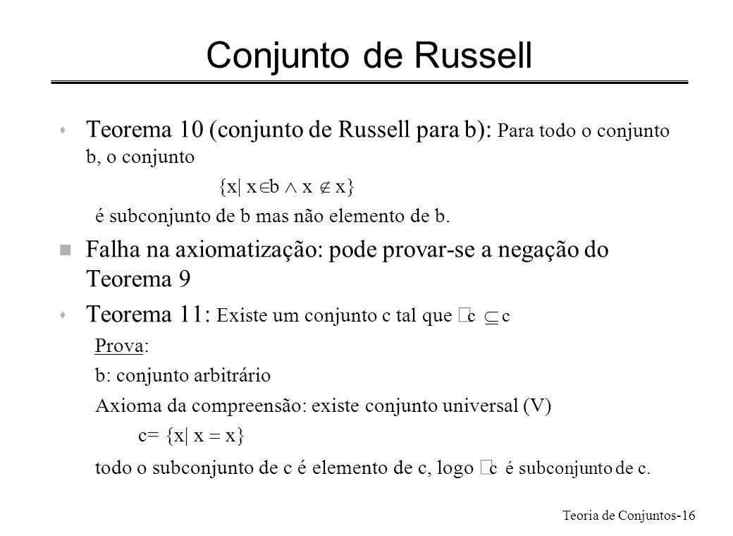 Teoria de Conjuntos-16 Conjunto de Russell s Teorema 10 (conjunto de Russell para b): Para todo o conjunto b, o conjunto {x| x b x x} é subconjunto de