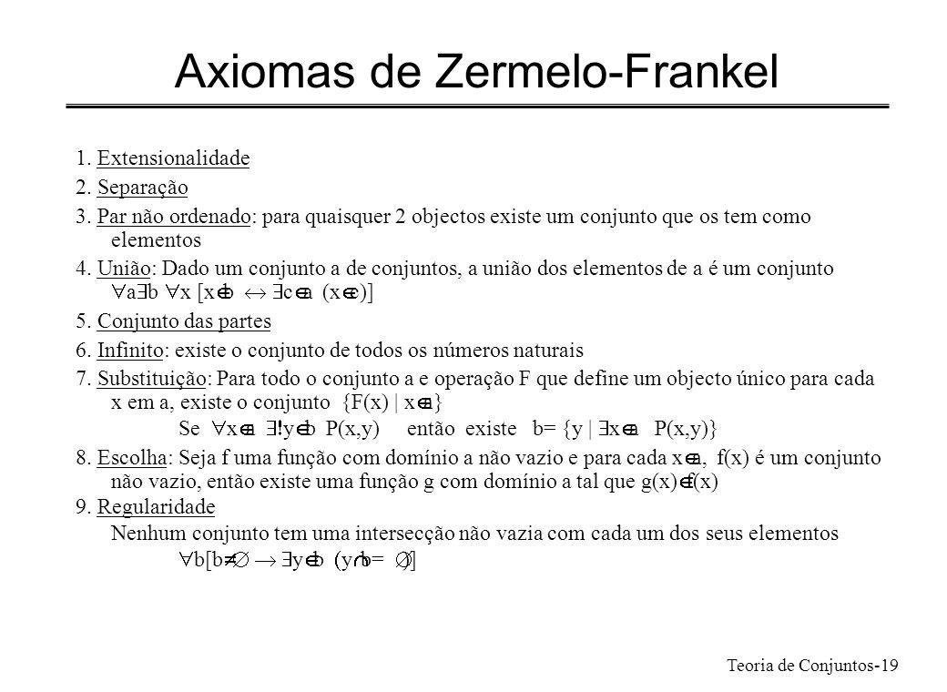 Teoria de Conjuntos-19 Axiomas de Zermelo-Frankel 1. Extensionalidade 2. Separação 3. Par não ordenado: para quaisquer 2 objectos existe um conjunto q