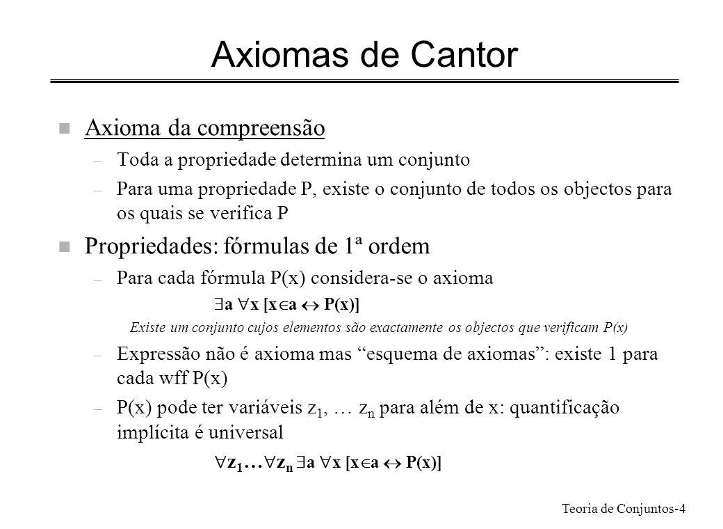 Teoria de Conjuntos-4 Axiomas de Cantor n Axioma da compreensão – Toda a propriedade determina um conjunto – Para uma propriedade P, existe o conjunto