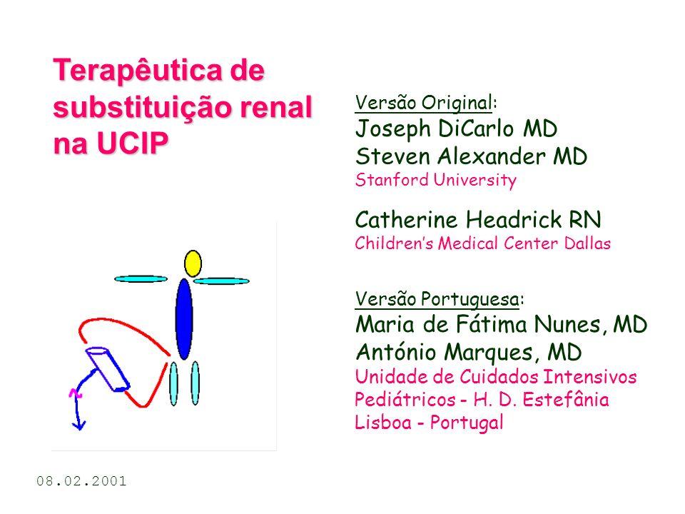 Fluxo sanguíneo & clearance Para uma criança com superfície corporal de 1.0 m 2, Fluxo Sanguíneo = 100 ml/min e FF = 30%, a clearence de pequenos solutos é 36.3 ml/min/1.73 m 2 (cerca de um terço da clearance renal normal de pequenos solutos).
