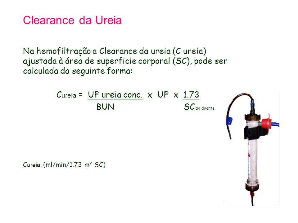 Clearance da Ureia Na hemofiltração a Clearance da ureia (C ureia) ajustada à área de superficie corporal (SC), pode ser calculada da seguinte forma: C ureia = UF ureia conc.
