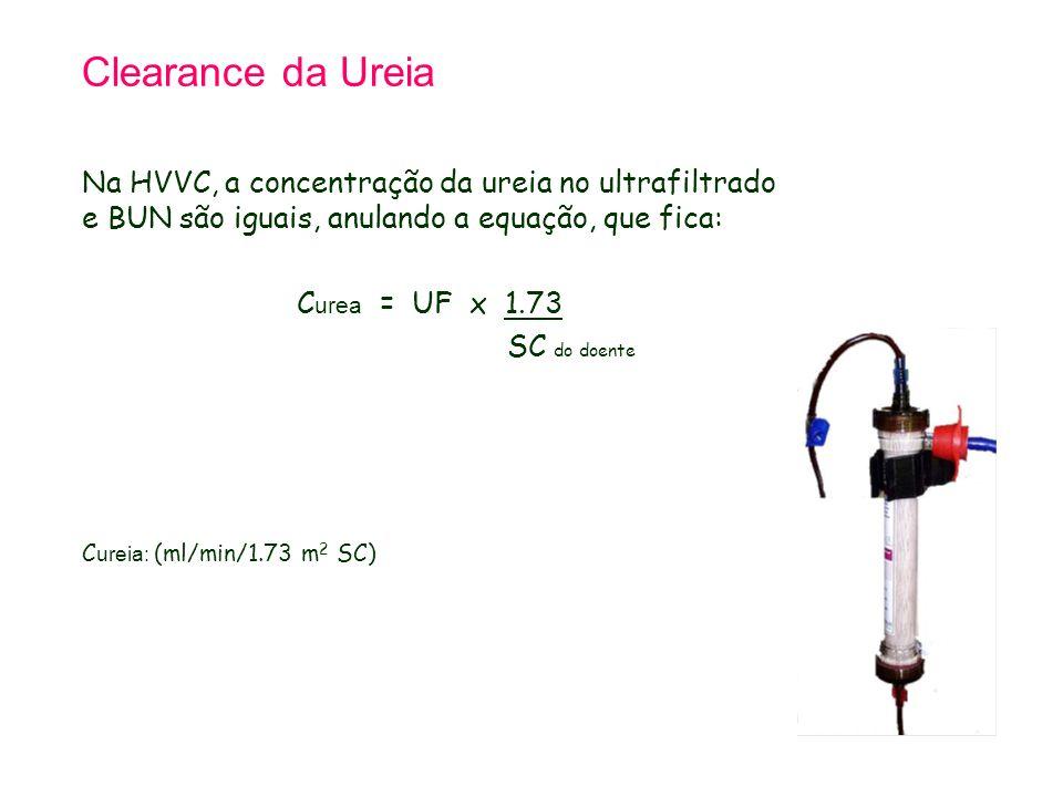 Clearance da Ureia Na HVVC, a concentração da ureia no ultrafiltrado e BUN são iguais, anulando a equação, que fica: C urea = UF x 1.73 SC do doente C ureia: (ml/min/1.73 m 2 SC)