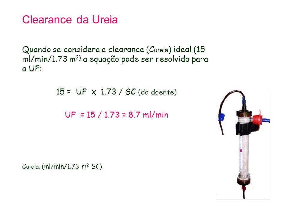 Clearance da Ureia Quando se considera a clearance (C ureia ) ideal (15 ml/min/1.73 m 2) a equação pode ser resolvida para a UF: 15 = UF x 1.73 / SC (do doente) UF = 15 / 1.73 = 8.7 ml/min C ureia: (ml/min/1.73 m 2 SC)