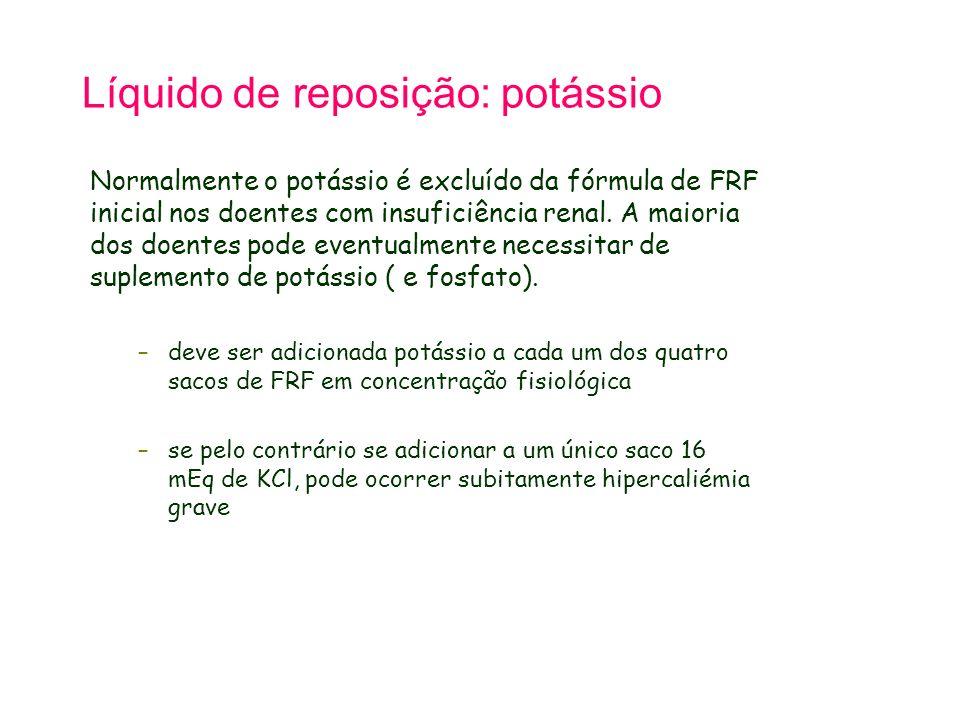 Líquido de reposição: potássio Normalmente o potássio é excluído da fórmula de FRF inicial nos doentes com insuficiência renal. A maioria dos doentes