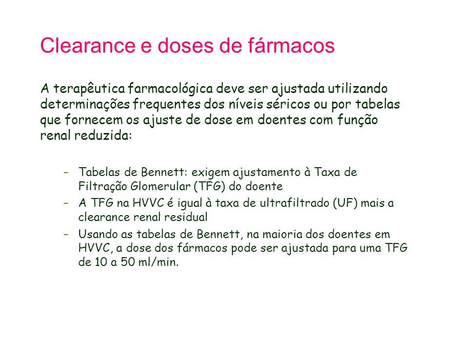 Clearance e doses de fármacos A terapêutica farmacológica deve ser ajustada utilizando determinações frequentes dos níveis séricos ou por tabelas que fornecem os ajuste de dose em doentes com função renal reduzida: –Tabelas de Bennett: exigem ajustamento à Taxa de Filtração Glomerular (TFG) do doente –A TFG na HVVC é igual à taxa de ultrafiltrado (UF) mais a clearance renal residual –Usando as tabelas de Bennett, na maioria dos doentes em HVVC, a dose dos fármacos pode ser ajustada para uma TFG de 10 a 50 ml/min.