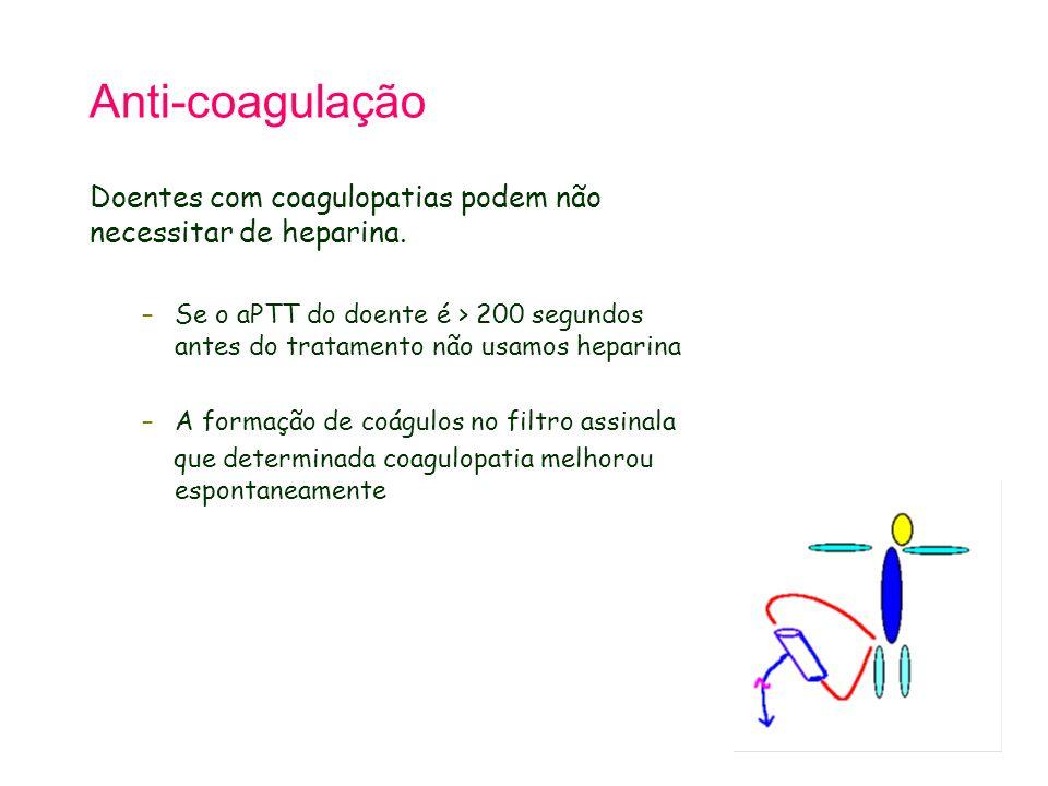 Anti-coagulação Doentes com coagulopatias podem não necessitar de heparina. –Se o aPTT do doente é > 200 segundos antes do tratamento não usamos hepar