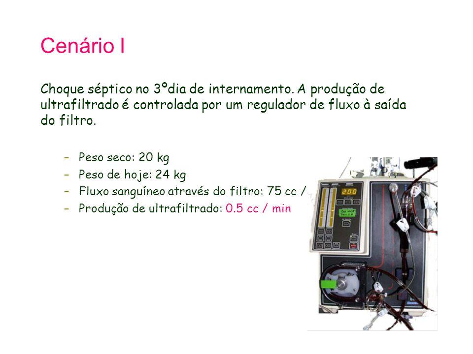 Cenário I Choque séptico no 3ºdia de internamento. A produção de ultrafiltrado é controlada por um regulador de fluxo à saída do filtro. –Peso seco: 2