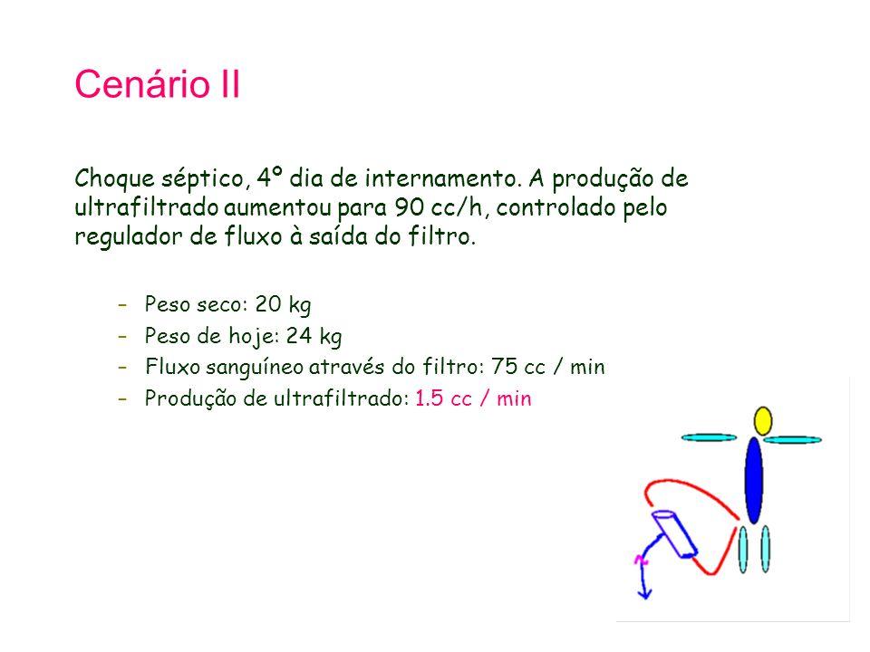 Cenário II Choque séptico, 4º dia de internamento. A produção de ultrafiltrado aumentou para 90 cc/h, controlado pelo regulador de fluxo à saída do fi