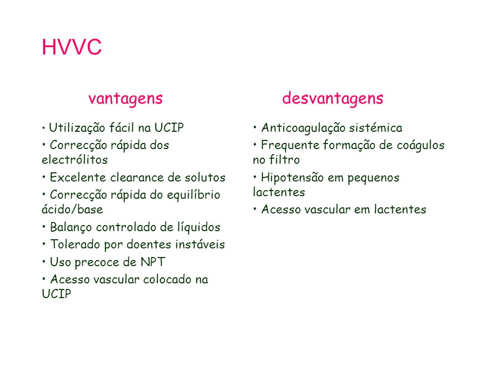 HVVC Utilização fácil na UCIP Correcção rápida dos electrólitos Excelente clearance de solutos Correcção rápida do equilíbrio ácido/base Balanço controlado de líquidos Tolerado por doentes instáveis Uso precoce de NPT Acesso vascular colocado na UCIP Anticoagulação sistémica Frequente formação de coágulos no filtro Hipotensão em pequenos lactentes Acesso vascular em lactentes vantagensdesvantagens