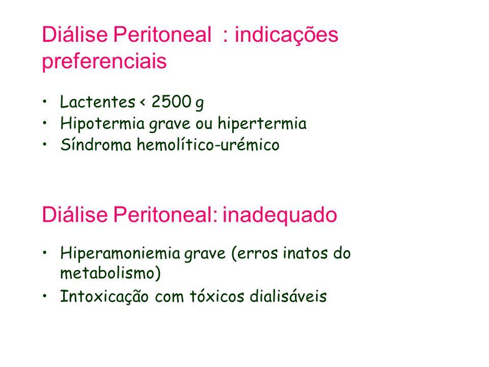 Diálise Peritoneal : indicações preferenciais Lactentes < 2500 g Hipotermia grave ou hipertermia Síndroma hemolítico-urémico Diálise Peritoneal: inade