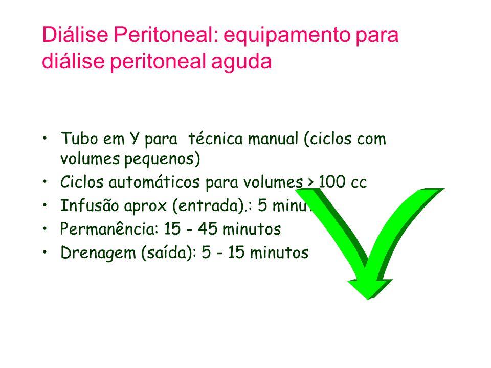 Diálise Peritoneal: equipamento para diálise peritoneal aguda Tubo em Y para técnica manual (ciclos com volumes pequenos) Ciclos automáticos para volumes > 100 cc Infusão aprox (entrada).: 5 minutos Permanência: 15 - 45 minutos Drenagem (saída): 5 - 15 minutos