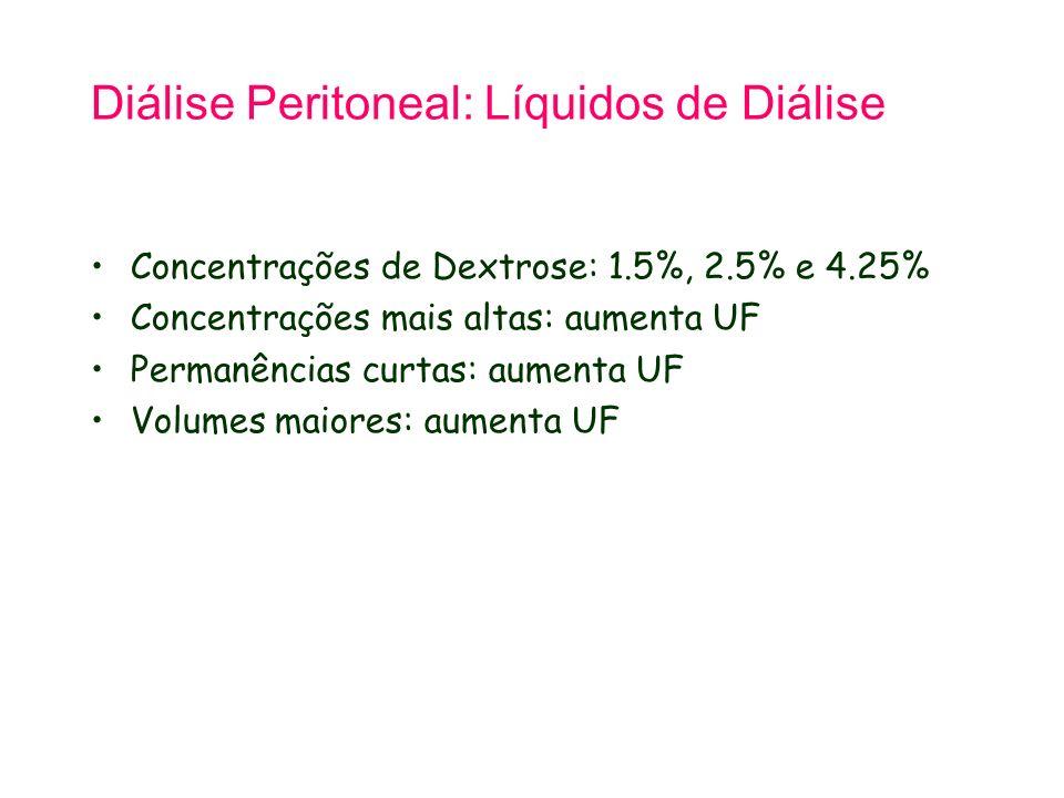 Diálise Peritoneal: Líquidos de Diálise Concentrações de Dextrose: 1.5%, 2.5% e 4.25% Concentrações mais altas: aumenta UF Permanências curtas: aument
