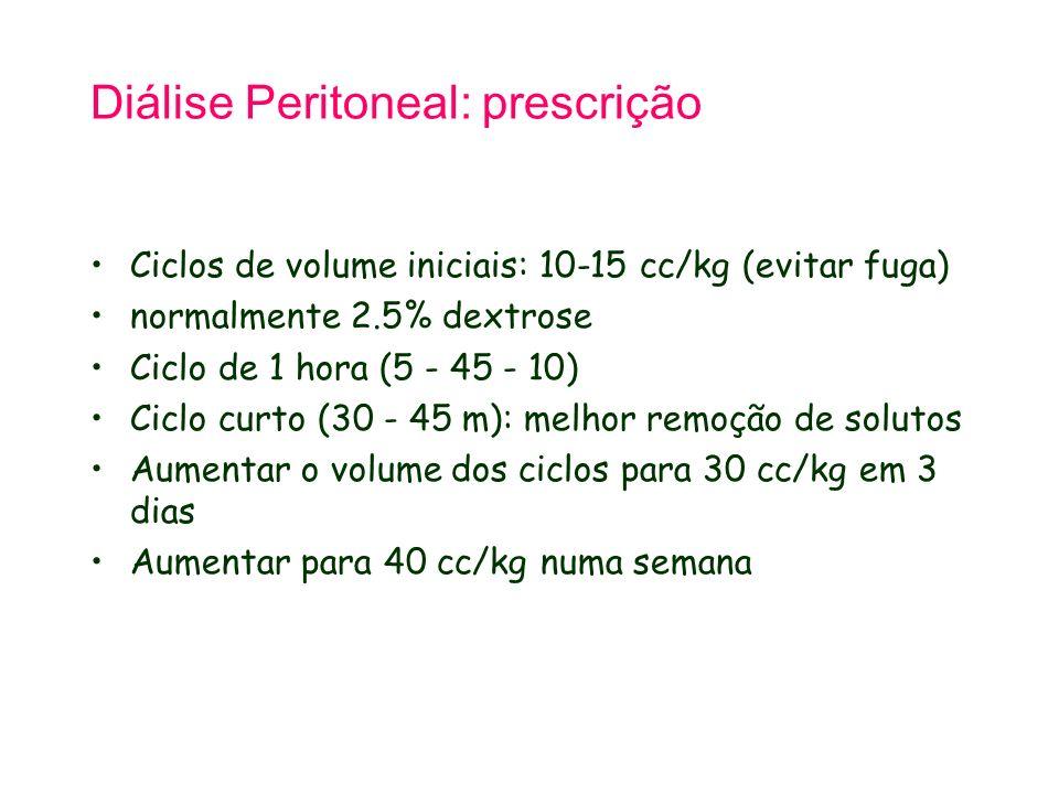Diálise Peritoneal: prescrição Ciclos de volume iniciais: 10-15 cc/kg (evitar fuga) normalmente 2.5% dextrose Ciclo de 1 hora (5 - 45 - 10) Ciclo curto (30 - 45 m): melhor remoção de solutos Aumentar o volume dos ciclos para 30 cc/kg em 3 dias Aumentar para 40 cc/kg numa semana