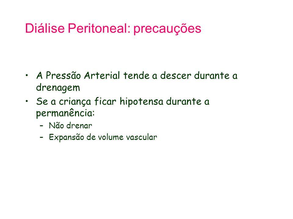 Diálise Peritoneal: precauções A Pressão Arterial tende a descer durante a drenagem Se a criança ficar hipotensa durante a permanência: –Não drenar –E