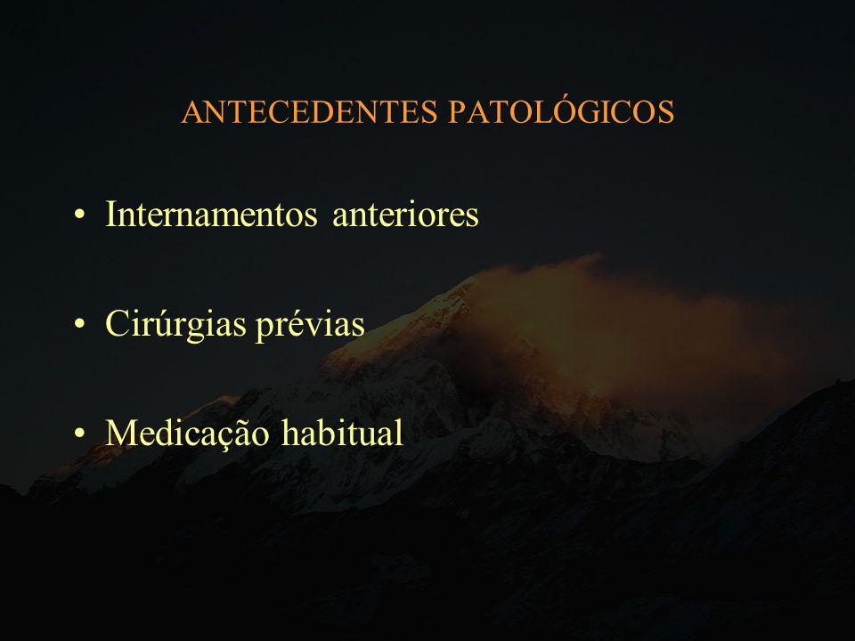 ANTECEDENTES PATOLÓGICOS Internamentos anteriores Cirúrgias prévias Medicação habitual
