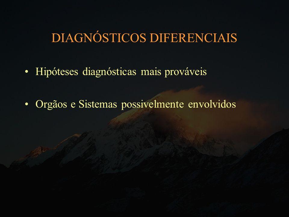 DIAGNÓSTICOS DIFERENCIAIS Hipóteses diagnósticas mais prováveis Orgãos e Sistemas possivelmente envolvidos