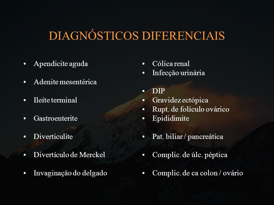 DIAGNÓSTICOS DIFERENCIAIS Apendicite aguda Adenite mesentérica Ileíte terminal Gastroenterite Diverticulite Divertículo de Merckel Invaginação do delg