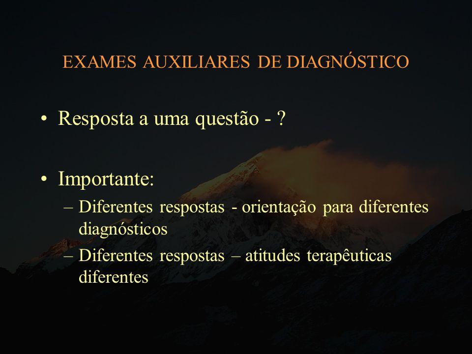 EXAMES AUXILIARES DE DIAGNÓSTICO Resposta a uma questão - ? Importante: –Diferentes respostas - orientação para diferentes diagnósticos –Diferentes re