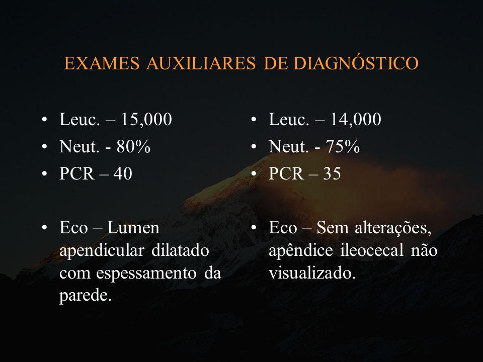 EXAMES AUXILIARES DE DIAGNÓSTICO Leuc. – 15,000 Neut. - 80% PCR – 40 Eco – Lumen apendicular dilatado com espessamento da parede. Leuc. – 14,000 Neut.