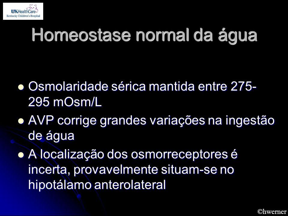 ©hwerner Homeostase normal da água Osmolaridade sérica mantida entre 275- 295 mOsm/L Osmolaridade sérica mantida entre 275- 295 mOsm/L AVP corrige gra