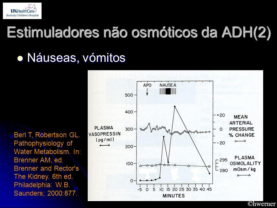 ©hwerner Estimuladores não osmóticos da ADH(2) Náuseas, vómitos Náuseas, vómitos Berl T, Robertson GL. Pathophysiology of Water Metabolism. In: Brenne