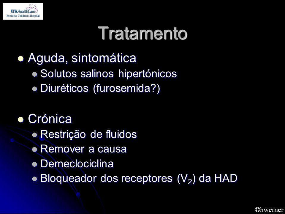 ©hwerner Tratamento Aguda, sintomática Aguda, sintomática Solutos salinos hipertónicos Solutos salinos hipertónicos Diuréticos (furosemida?) Diurético