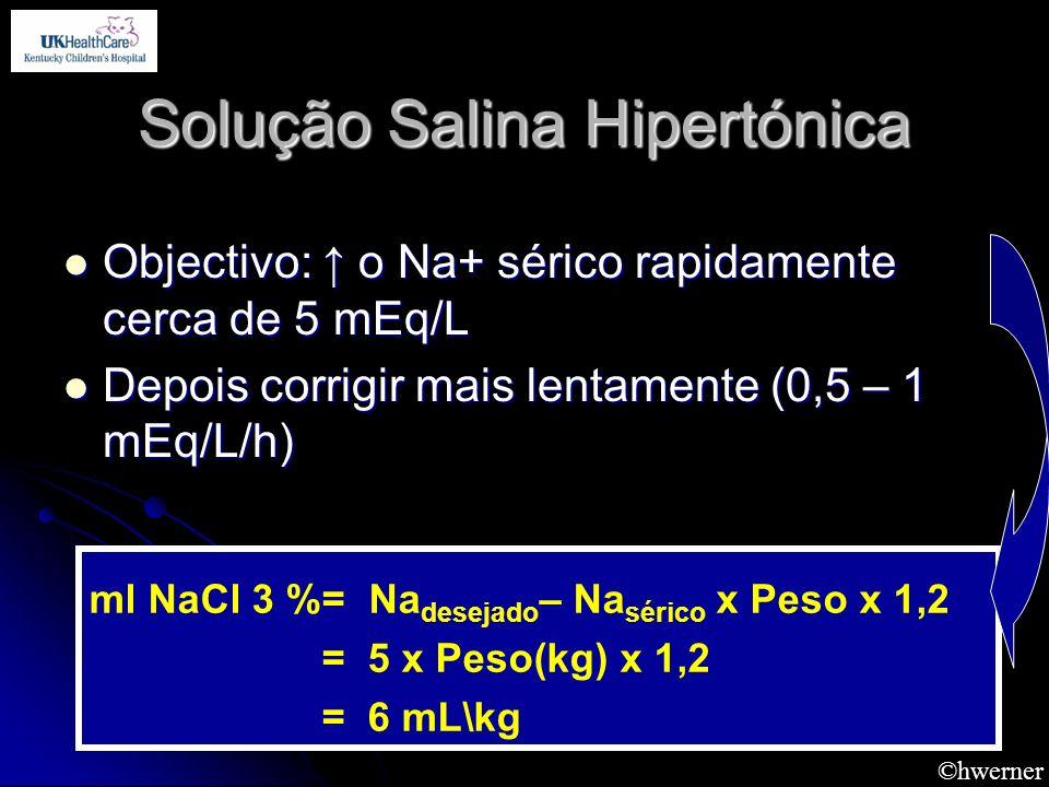 ©hwerner Solução Salina Hipertónica Objectivo: o Na+ sérico rapidamente cerca de 5 mEq/L Objectivo: o Na+ sérico rapidamente cerca de 5 mEq/L Depois c