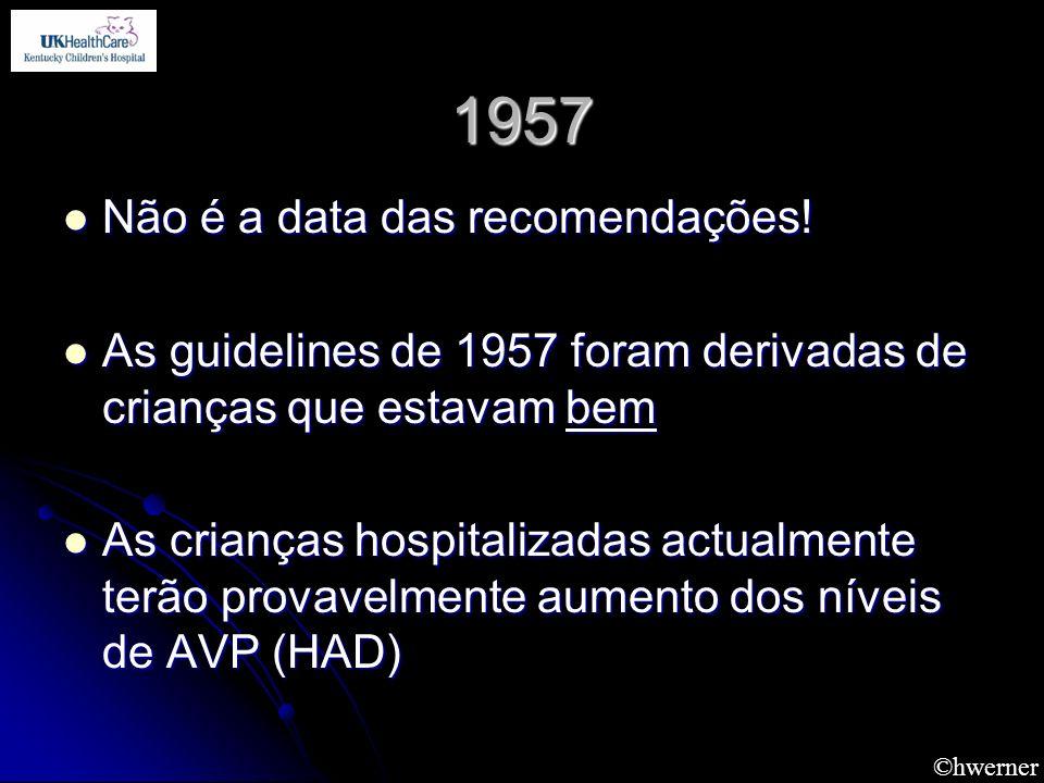 1957 Não é a data das recomendações! Não é a data das recomendações! As guidelines de 1957 foram derivadas de crianças que estavam bem As guidelines d
