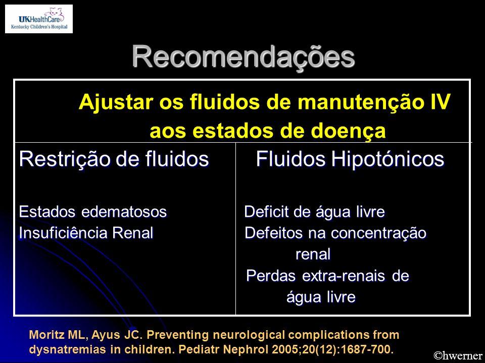 ©hwerner Recomendações Ajustar os fluidos de manutenção IV aos estados de doença Restrição de fluidos Fluidos Hipotónicos Estados edematosos Deficit d