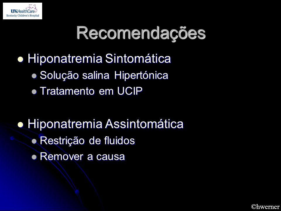 ©hwerner Recomendações Hiponatremia Sintomática Hiponatremia Sintomática Solução salina Hipertónica Solução salina Hipertónica Tratamento em UCIP Trat