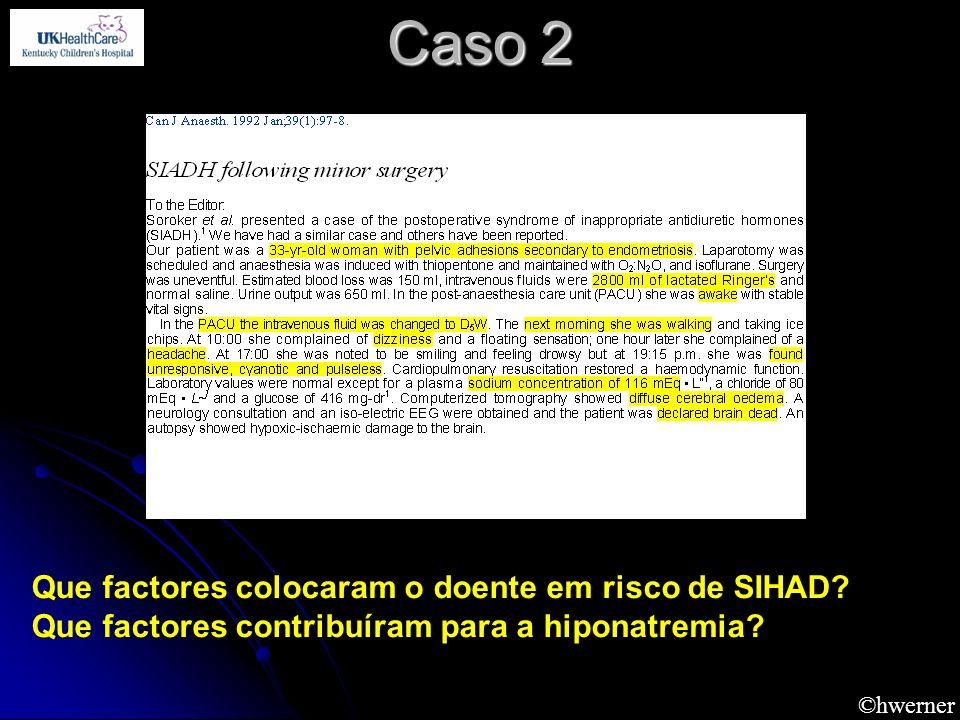 ©hwerner Caso 2 Que factores colocaram o doente em risco de SIHAD? Que factores contribuíram para a hiponatremia?