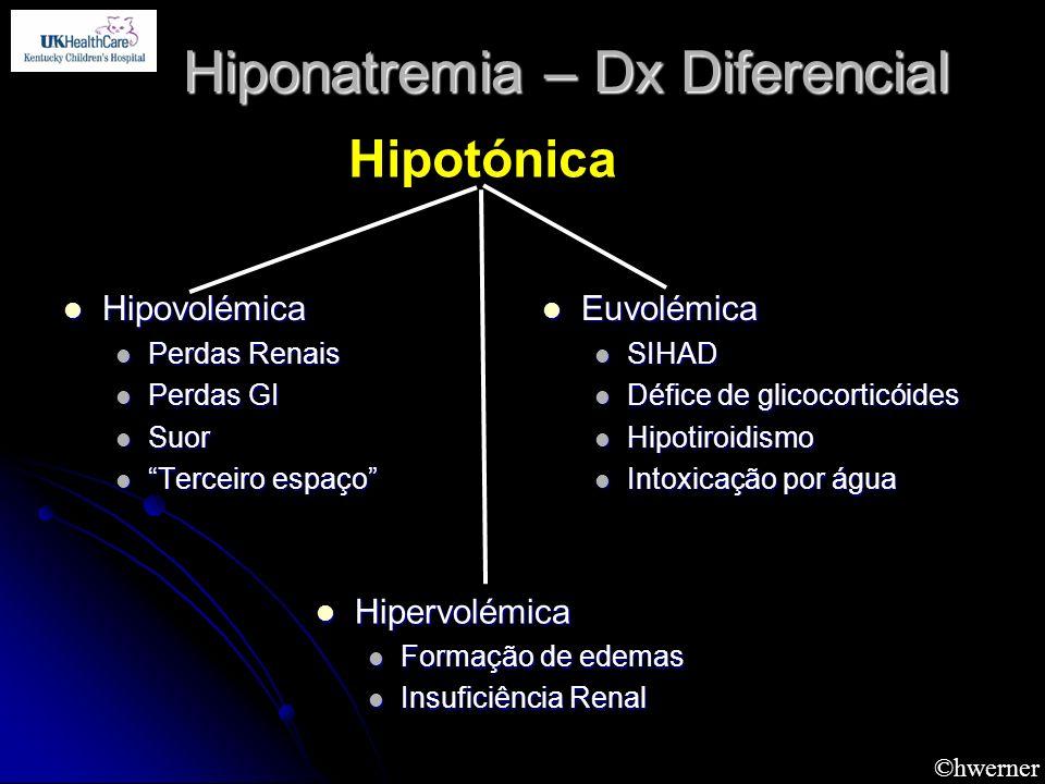©hwerner Hiponatremia – Dx Diferencial Hipovolémica Hipovolémica Perdas Renais Perdas Renais Perdas GI Perdas GI Suor Suor Terceiro espaço Terceiro es