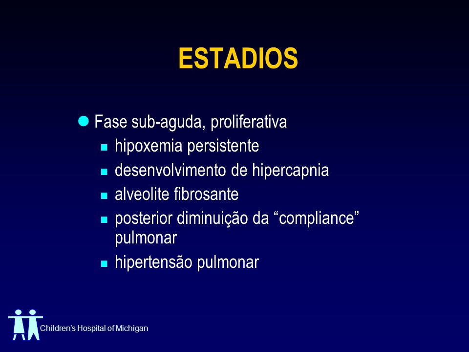 Childrens Hospital of Michigan ESTADIOS Fase sub-aguda, proliferativa hipoxemia persistente desenvolvimento de hipercapnia alveolite fibrosante poster