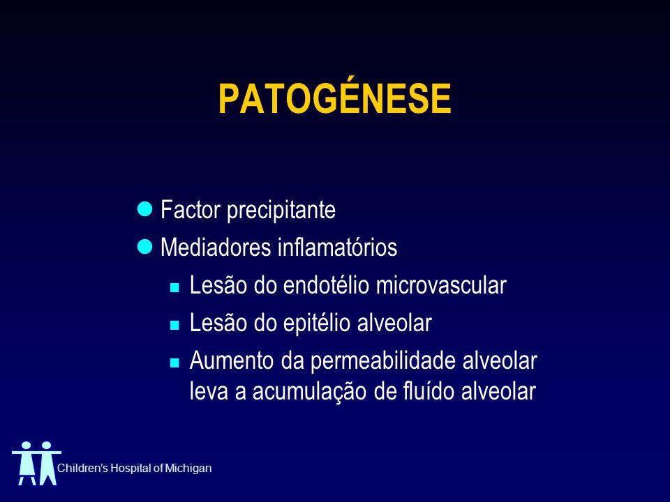 Childrens Hospital of Michigan PATOGÉNESE Factor precipitante Mediadores inflamatórios Lesão do endotélio microvascular Lesão do epitélio alveolar Aum